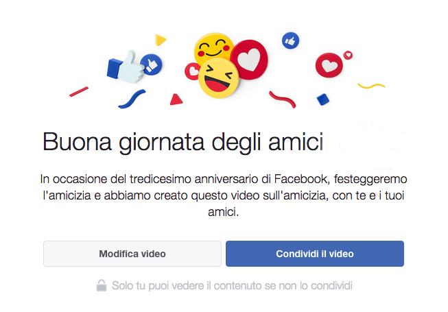 anniversario amicizia facebook
